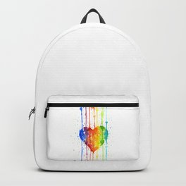 Heart Rainbow Watercolor Colorful Heart Painting Backpack