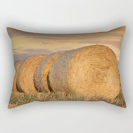 Bale of Straw Cereals Landscape Rectangular Pillow