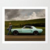 mustang Art Prints featuring Mustang by Jacob Benjamin Taylor