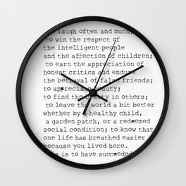"""To laugh often and much;"" Ralph Waldo Emerson quote Wall Clock"