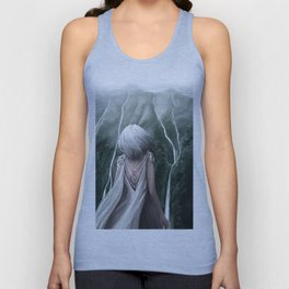 Girl  standing by a mountain Digital Art Painting Unisex Tank Top