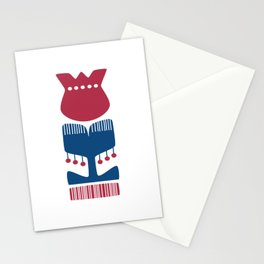 Nordic Red Flower Stationery Cards