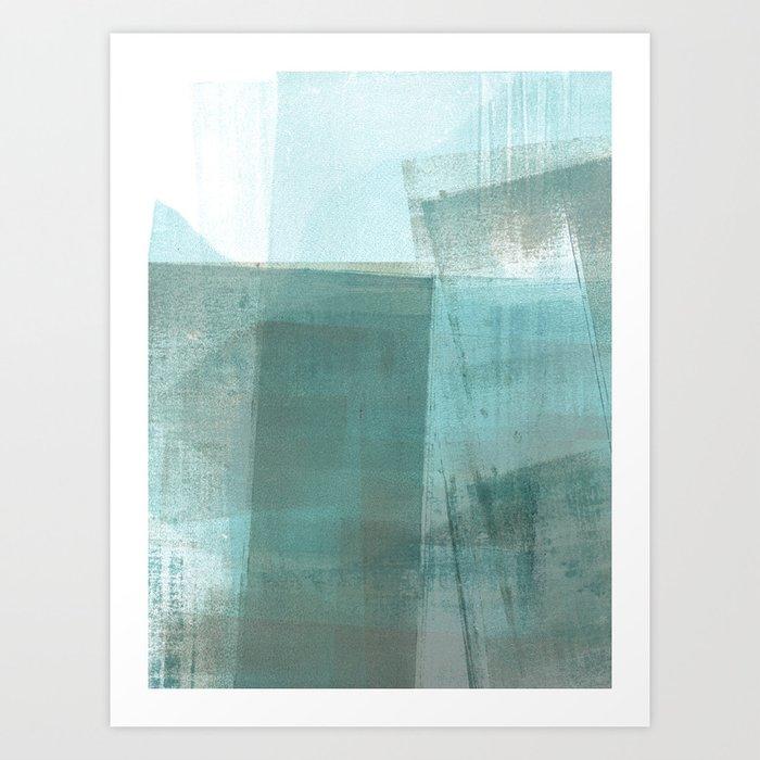 Turquoise Aqua Taupe Geometric Abstract Painting Kunstdrucke