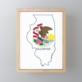 Illinois with Illinois State Flag Framed Mini Art Print