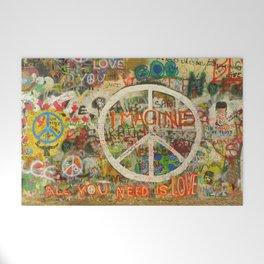 Peace Sign - Love - Graffiti Welcome Mat