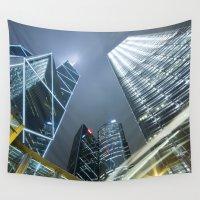 hong kong Wall Tapestries featuring Hong Kong Night City by Parrish