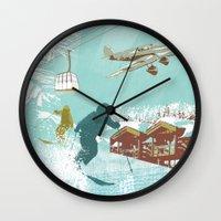 ski Wall Clocks featuring ski lift by michael cheung