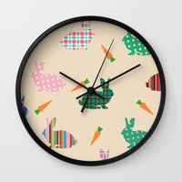 rabbits Wall Clocks featuring rabbits by vitamin