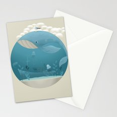 Seagull rest over whale Stationery Cards