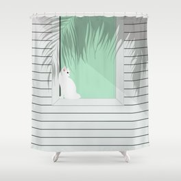 Mint and cat Shower Curtain