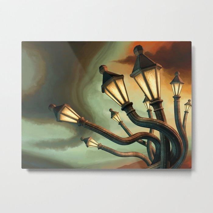 Drunk Streetlamps Metal Print