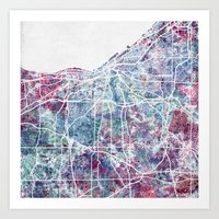 cleveland Art Prints featuring Cleveland map by MapMapMaps.Watercolors