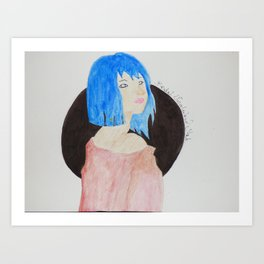 Bluedoll watercolor painting Art Print