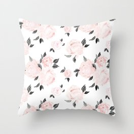 Vintage Blush Floral BW -medium Throw Pillow