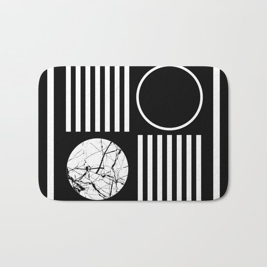 Retro Marble 2 - Abstract, geometric, black and white, bold, modern design Bath Mat