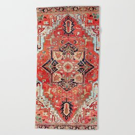 Heriz Azerbaijan Northwest Persian Rug Print Beach Towel