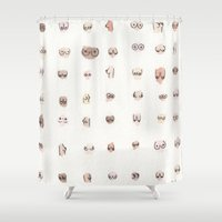 boobs Shower Curtains featuring boobs by Julia Heffernan