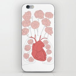 Lungs and heart floral anatomy iPhone Skin