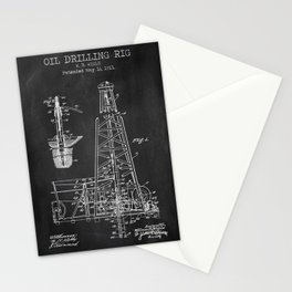 Oil Drilling Rig chalkboard patent Stationery Cards