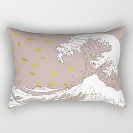 Rolling Waves in Gold Rectangular Pillow