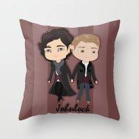 johnlock Throw Pillows featuring Johnlock by Alex Mathews