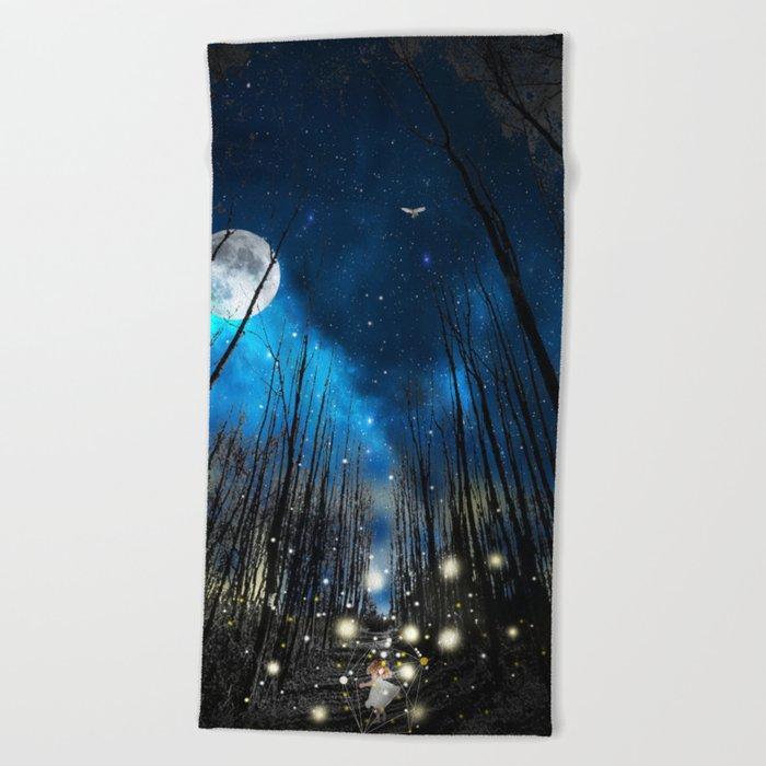 FIREFLIES NIGHT Beach Towel