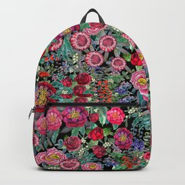 fall burgundy flowers and berries, autumn / winter, holiday botanical Backpack