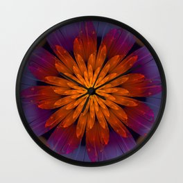 Fiery Fantasy Flower, fractal abstract Wall Clock