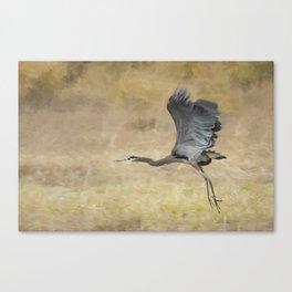 Heron Flying Abstract Canvas Print