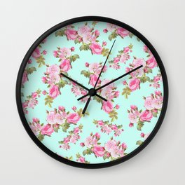 Pink & Mint Green Floral Wall Clock