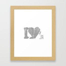I Love Bouldering (white) Framed Art Print