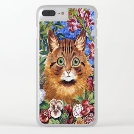 Louis Wain's Cats - Cat In the Garden Clear iPhone Case
