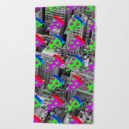 Pizza Invasion NYC Beach Towel