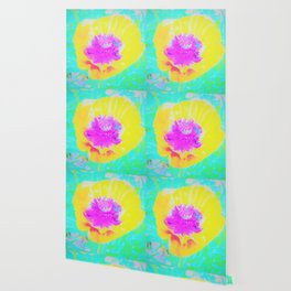 Yellow Poppy with Hot Pink Center on Turquoise Blue Wallpaper