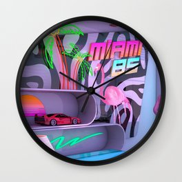 Synthwave Miami 85 Wall Clock