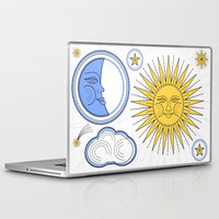 sun and moon Laptop & iPad Skins featuring Vintage Sun and Moon by Petya Hadjieva (ragerabbit)