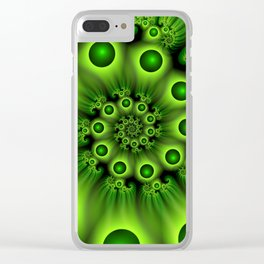 Green Fractal, Modern Spiral With Depth Clear iPhone Case