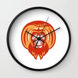 Orangutan Bearded Front Retro Wall Clock