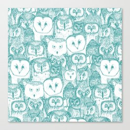 just owls teal blue Canvas Print