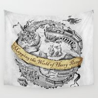 ravenclaw Wall Tapestries featuring Harry's Map by Febrian89
