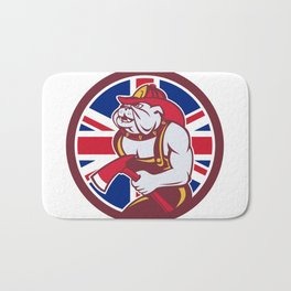 British Bulldog Fireman Union Jack Flag Icon Bath Mat