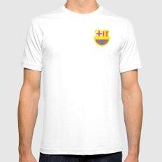 barcelona logo White Mens Fitted Tee MEDIUM
