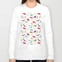 dinosaurs Long Sleeve T-shirts featuring Watercolour Dinosaurs by Jasper&Pud