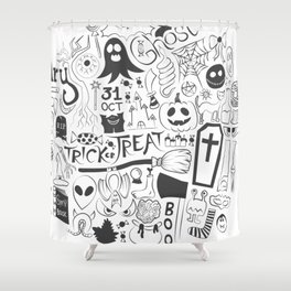 Halloween Doodles (Black) Shower Curtain