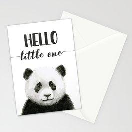 Panda Art Print Baby Animals Hello Little One Nursery Decor Stationery Cards