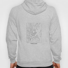 Portland Maine White Map Hoody