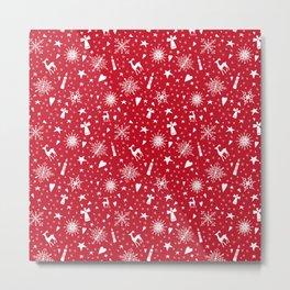 Merry Christmas holiday snowflakes, hearts, angels, deer on red Metal Print