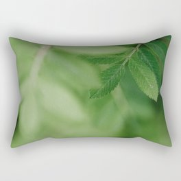 Spring life - Beautiful green rowan leaves in macro image Rectangular Pillow