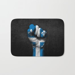 Quebec Flag on a Raised Clenched Fist Bath Mat