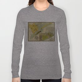 Vintage Map of Galveston Texas (1891) Long Sleeve T-shirt